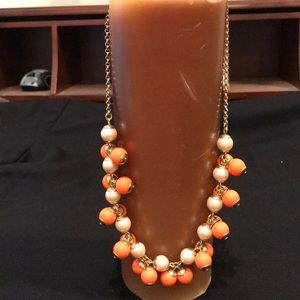 J. Crew Orange and Pearl Beaded Necklace